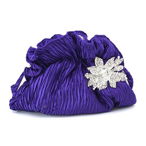 Seda Para Mujer Plisado Bolso De La Tarde Del Embrague Raso Con Cadena Desmontable Boda De La Correa Purple