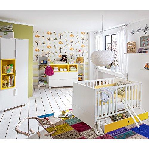 Komplett Babyzimmer Set Weiss Gelb Babymobel Babybett Wickelkommde