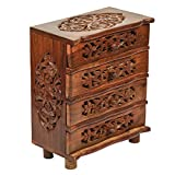 Beautiful Handmade Wooden Jewellery Box for Women Jewel Organizer with Small Drawer