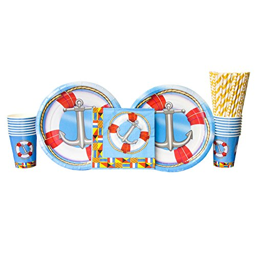 Nautical Party Supplies Pack for 16 Guests: Straws, Dinner Plates, Luncheon Napkins, and Cups (Bundle for (Nautical Plastic Plates)