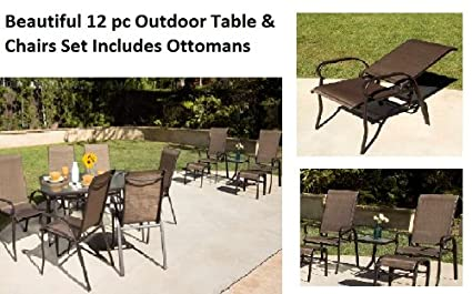 Amazon Com 12 Pc Outdoor Patio Furniture Set Table Chairs Dining