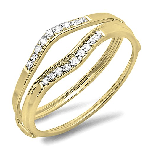 Dazzlingrock Collection 0.12 Carat (ctw) 10K Round White Diamond Ladies Enhancer Guard Wedding Band, Yellow Gold, Size 7