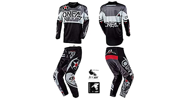ONeal Element Racewear Red//Black Adult motocross MX off-road dirt bike Jersey Pants combo riding gear set Pants W32 // Jersey Medium