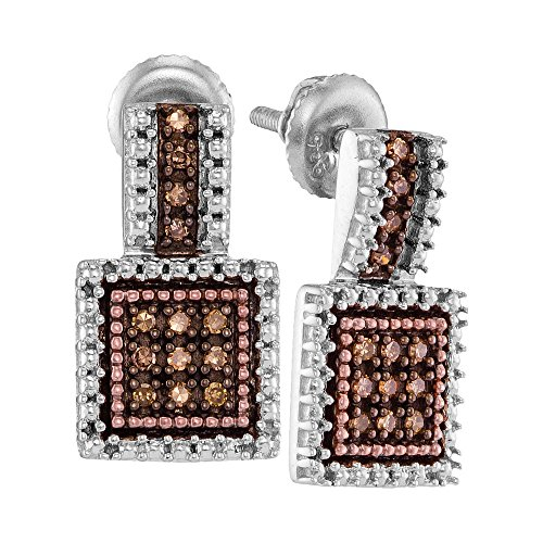 Brown Diamond Dangle Earrings Sterling Silver Square Drops Hanging Style Round Chocolate Cluster 1/5 Cttw by GemApex