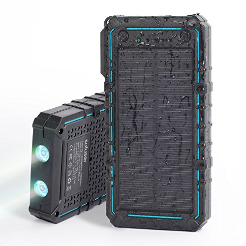 Solar Charger, Soluser 13500mAh Premium Solar Power Bank Dual USB Backup Battery Pack Charger, Outdoor Portable Solar External Battery Charger 2 Led Flashlight for Hiking, Camping, More