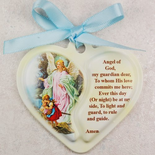 Guardian Angel Heart Crib Medal Plaque With Blue Ribbon Infant Communion (Communion Plaque)