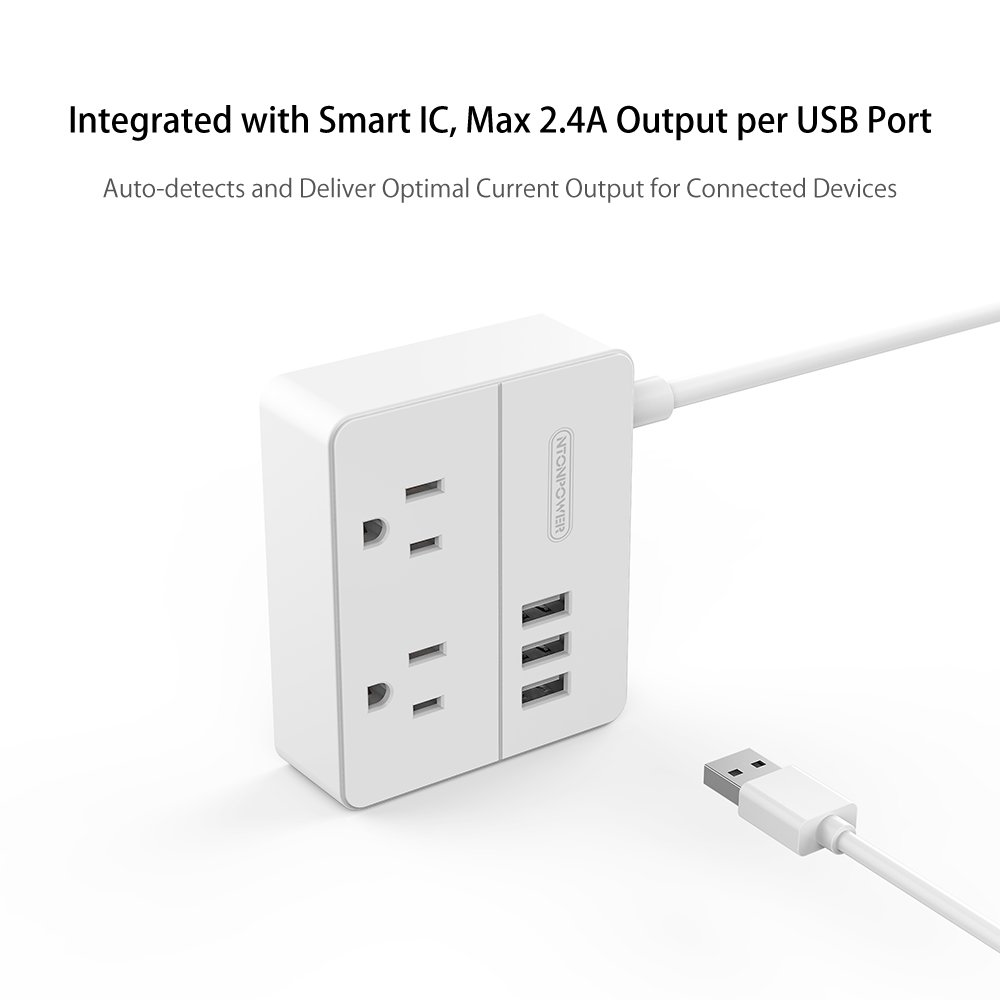 NTONPOWER Travel Power Strip 2 Outlets 3 USB Charging Ports Small Power Station with 3.3ft Extension Cord for Smartphone Tablets Cruise Hotel Office Bedside Table - White by NTONPOWER (Image #5)