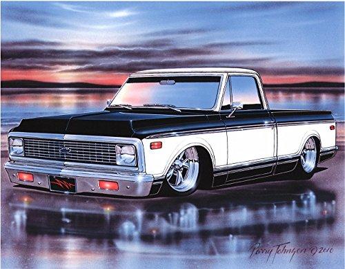 1972 Chevy C10 Fleetside Pickup Classic Truck Art Print Black & White 11x14 Poster (Old Trucks Chevy Classic)