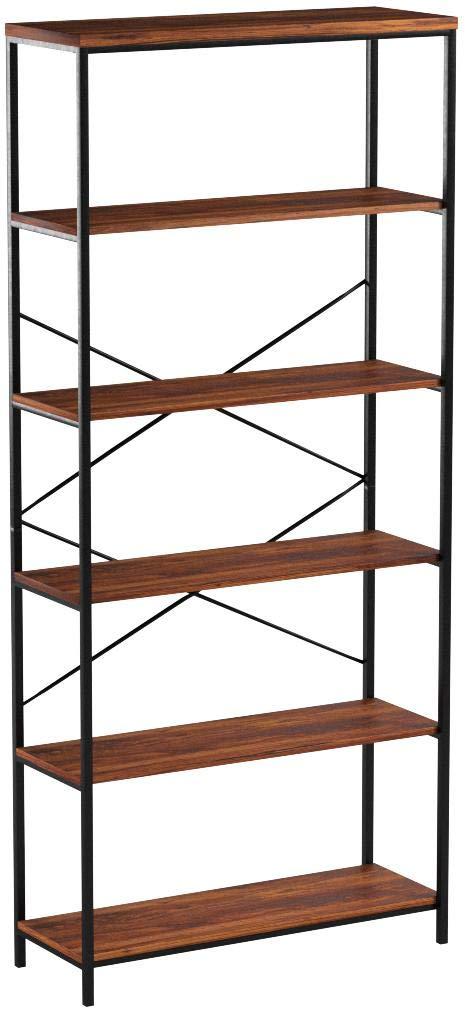 Modrine 5 Shelf Bookcase, Bookshelf Industrial Style Metal and Wood Bookshelves Free Vintage Standing Storage Shelf Units by Modrine