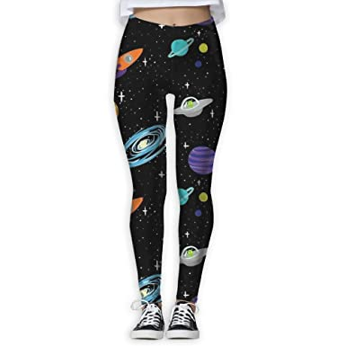 df5f016cd0224 Amazon.com: Gask-L Solar System Spaceships Planets Women's Sports Running Yoga  Workout Leggings Pants: Clothing