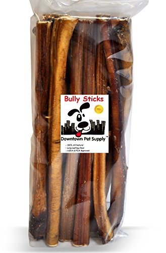 "Downtown Pet Supply 6"" & 12"" inch Premium All Natural Beef Bully Sticks, Jumbo Extra Thick Dog Dental Chew Treats - Grain Free, High in Protein, Low in Fat (10 Pack)"