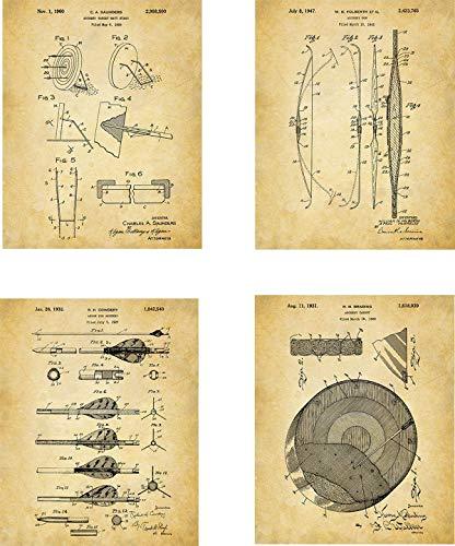 Archer Wall - Archery Patent Wall Art Prints - set of Four (8x10) Unframed - wall art decor for an archer