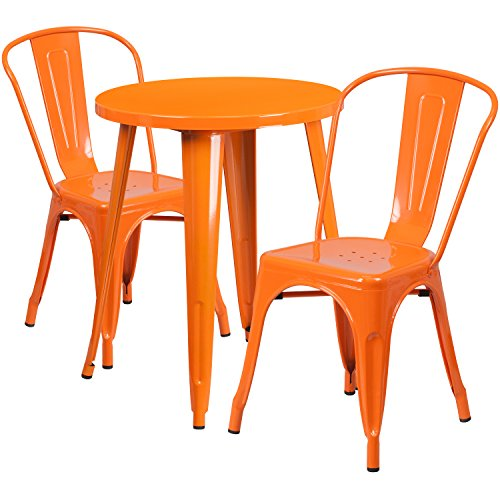 Flash Furniture 24'' Round Orange Metal Indoor-Outdoor Table Set with 2 Cafe - Outdoor Set Dinette
