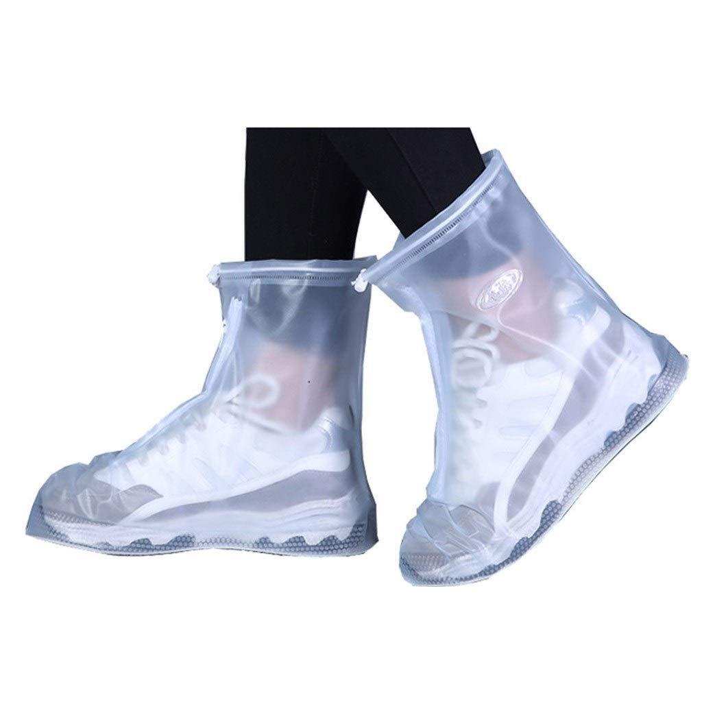 YANGBM Silicone Rain Boots Waterproof Rainproof Rain Boots Slip Non-Slip Thick Wear-Resistant Rain Boots Cover Silicone rain Boots (Color : White, Size : XXL)