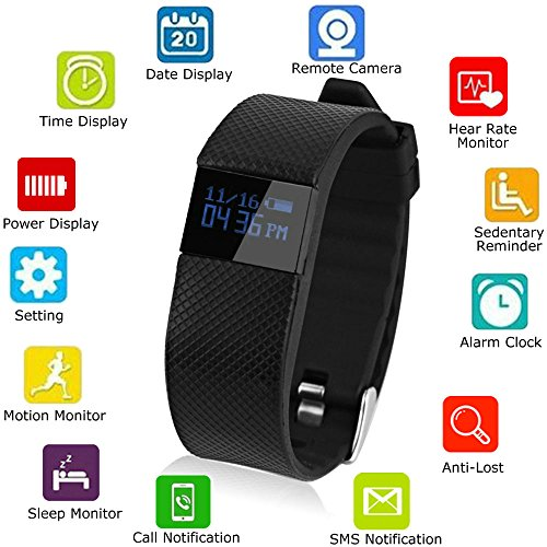 SQDeal Bluetooth Watch Bracelet Heart Rate Monitor, Smart Watch Smart Band Calorie Counter Wireless Pedometer Sport Activity Tracker For iPhone Samsung Android IOS Phone