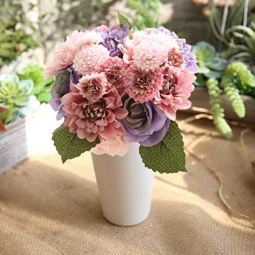 Daisy Rose Wedding Bouquet - Lemax Artificial Flowers,10 Heads Rose Dahlia Daisy Fake Flower Arrangement Bridal Wedding Bouquets for Home Garden Party Office Décor (Colorful)