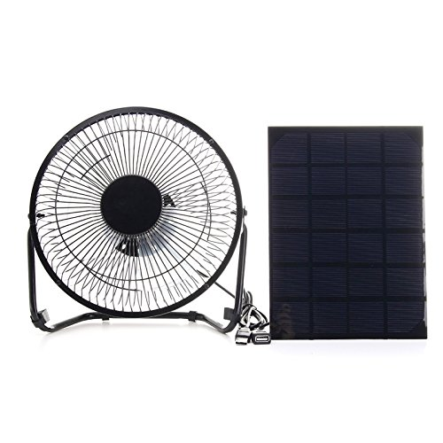 SODIAL USB 5.5W Iron Fan 8Inch Cooling Ventilation Car Cooling Fan+ Black Solar Panel Powered for Outdoor Traveling Fishing Home Office