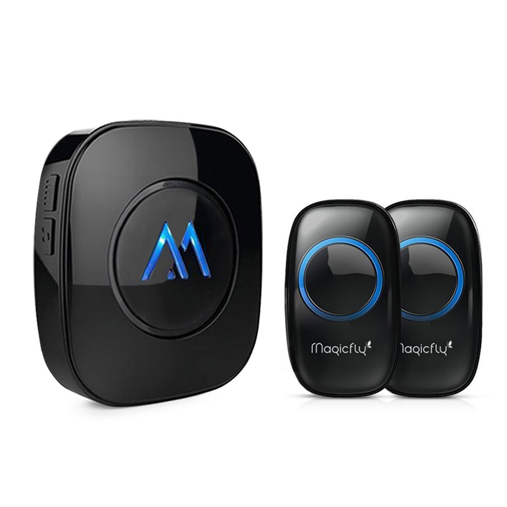 Magicfly Expandable Wireless Doorbell Chime Kit 1000-feet Range 52 Melodies, No Batteries Required for Receiver(2 Push Remote Button+1 Door Chime) Black