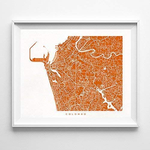Amazon com: Colombo Sri Lanka Street Road Map Home Decor