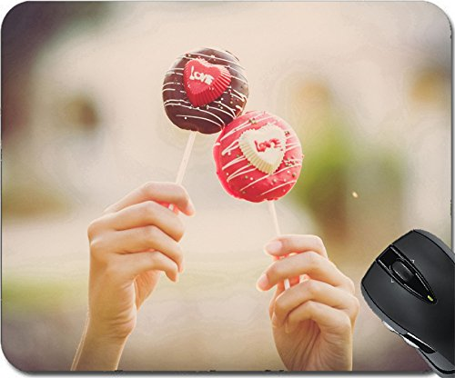 MSD Natural Rubber Mousepad Mouse Pads/Mat design: 37305132 Hand holding Cake pop with love text for valentine