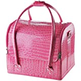 Professional Pink Crocodile Print Soft PVC Cosmetic Makeup Artist Train Case, Bags Central