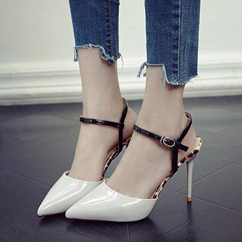 Sandalias De Gris Amarre Hembra De En Zapatos Zapatos Bien Verano Señaló GAOLIM Rojo Ranurados Tacón Mujer Con De dqTEdw78