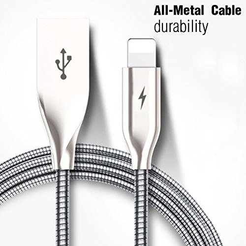 Yaletu iPhone Cable Charger– 3FT/1M Short Stainless Steel Spring Cord Lightning Cable to USB Charging – Compatible with iPhone 7/7Plus/6/6Plus/6S/6S Plus/5/5S/5C/SE, iPad, iPod(Silver)