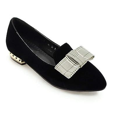 bbfb9802ec12e Amazon.com | Women's Classic Bow Point Toe Flat Pumps Shoes Round ...
