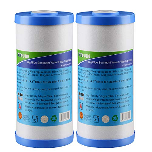 GOLDEN ICEPURE Whole House Big Blue Sediment and Carbon Combinated Water Filter Compatible with FXHTC,GXWH40L,GXWH35F,GNWH38S (10''x4.5''),Fits Universal Big Blue Water Filter System