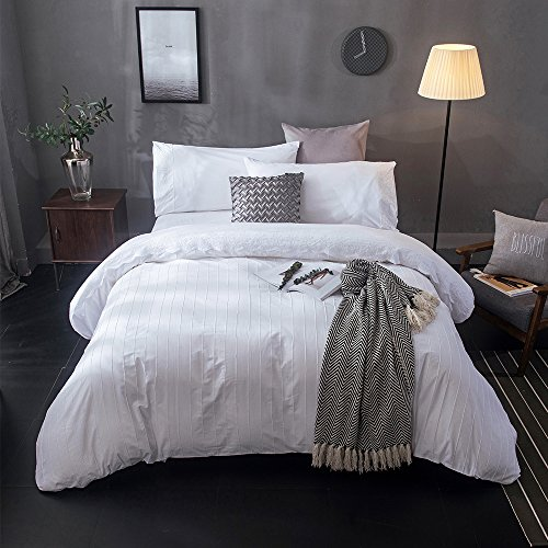Merryfeel Duvet Cover Set,100% Cotton Embroidery Lace with Pintuck Duvet Cover Set- White- Full/Queen (Matching Curtains And Covers Duvet)