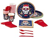 Disposable Dinnerware Set - Serves 24 - Day of The Dead Party Supplies for Kids Birthdays, Dia De Los Muertos Skull Design, Includes Plastic Knives, Spoons, Forks, Paper Plates, Napkins, Cups