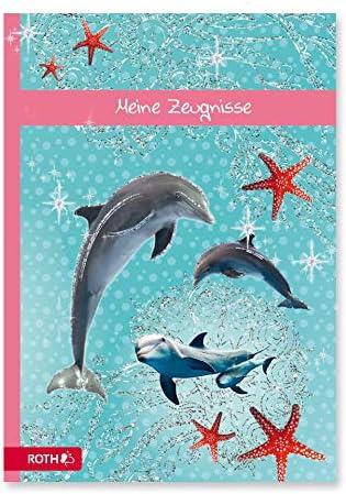 ROTH Zeugnismappe A4 Delfin mit Glitzereffekt - 10 Einlagen für bis zu 20 Zeugnisse - dokumentenecht - Dokumentenmappe