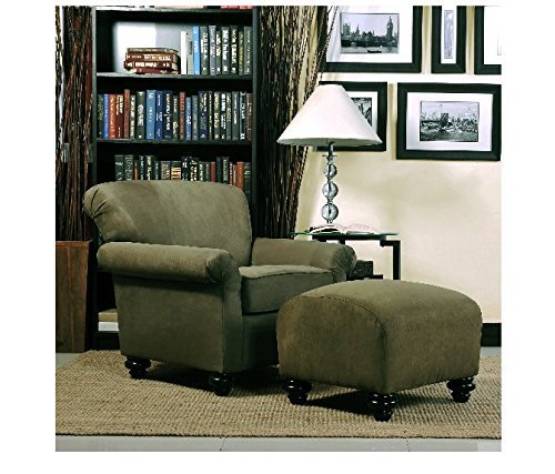 (Portfolio Capri Moss Green Microfiber Accent Arm Chair and Ottoman by Portfolio)