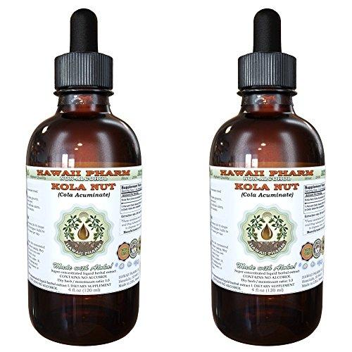 Kola nut Alcohol-FREE Liquid Extract, Kola nut (Cola Acuminate) Whole Nut Glycerite Herbal Supplement 2×4 oz