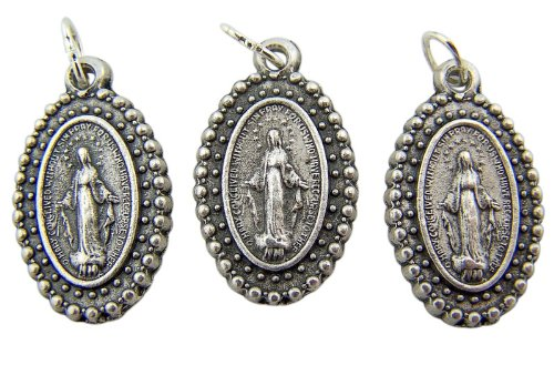 Lot of 3 - Jewelry Making Charms Our Lady of Grace Marian Icon Miraculous Medal Pendant