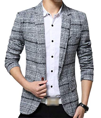 Men Bouton 1 Stylish Slim Pour Basic Business Casua Grau Hommes Suit Carreaux Revel Vestes Blazer Moderne Casual À Fit Printemps qTRIpwSS