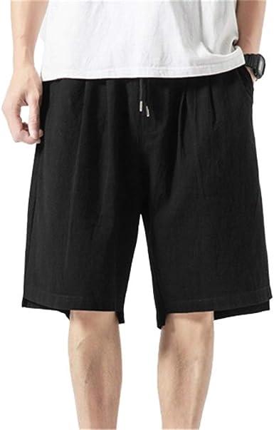 Herren Baumwolle Leinen Shorts Hose mit Weitem Bein Kurz Gummibund Locker Sommer