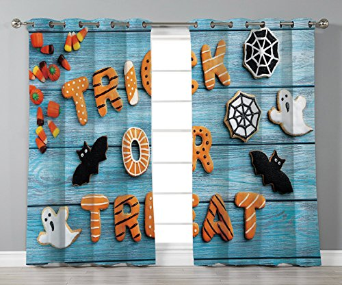 Thermal Insulated Blackout Grommet Window Curtains,Halloween,Fresh Trick or