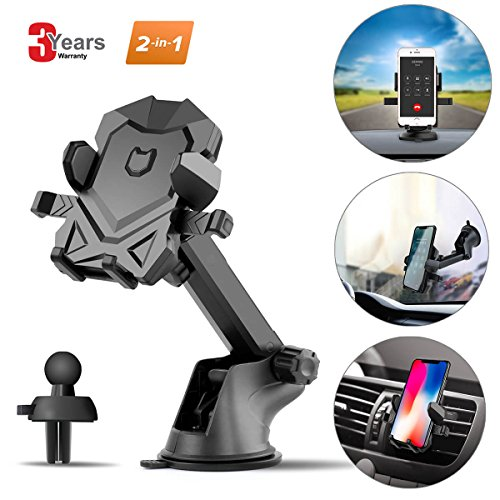 Phone Holder for Car,Universal Car Phone Mount with Adjustable Dashboard Windshield Air Vent iPhone Car Mount for iPhone X/8/7/7 Plus and More (Black) by SPCEUTOH -
