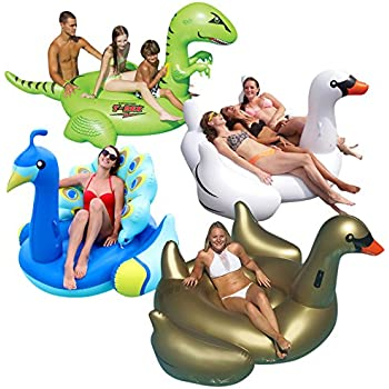 Swimline Animal Kingdom Extra Large Swimming Pool Floats Combo Value Pack: Swan, Goose, Peacock, and T-Rex