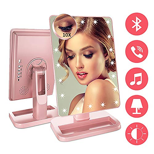FENCHILIN Vanity Mirror with Lights Bluetooth Lighted Makeup Mirror Touch Screen Wireless Audio Speaker Dimmable Light Detachable 10X Magnification Rechargable Power Rose Gold