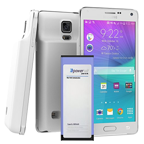 Note 4 MEGA Extended Battery & Door (3.85 Lithium Polymer) for Samsung Galaxy NOTE 4 (by PowerSuit) (White)
