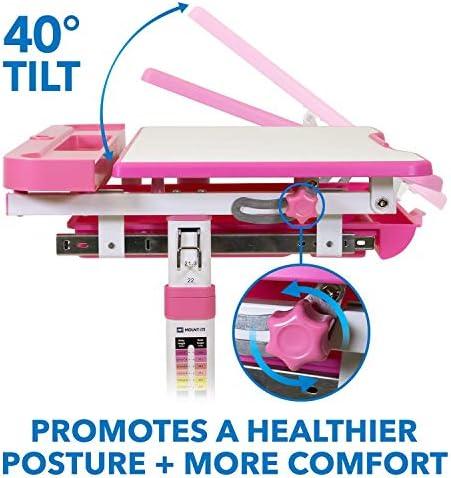 Mount-It! Kids Desk And Chair Set, Height Adjustable Ergonomic Children's School Workstation With Storage Drawer, Pink