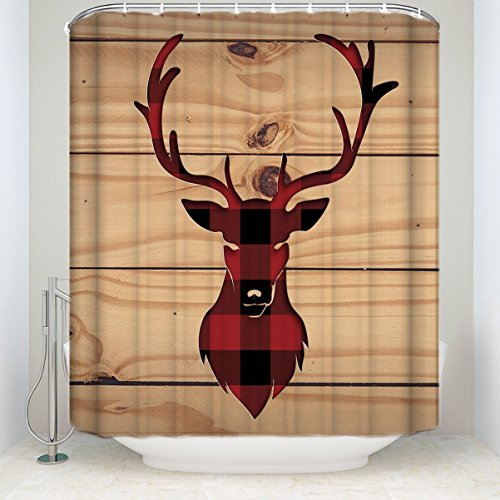 Red Black Buffalo Check Plaid Deer Head with Rustic Old Barn Wood Shower curtain 72x84inch