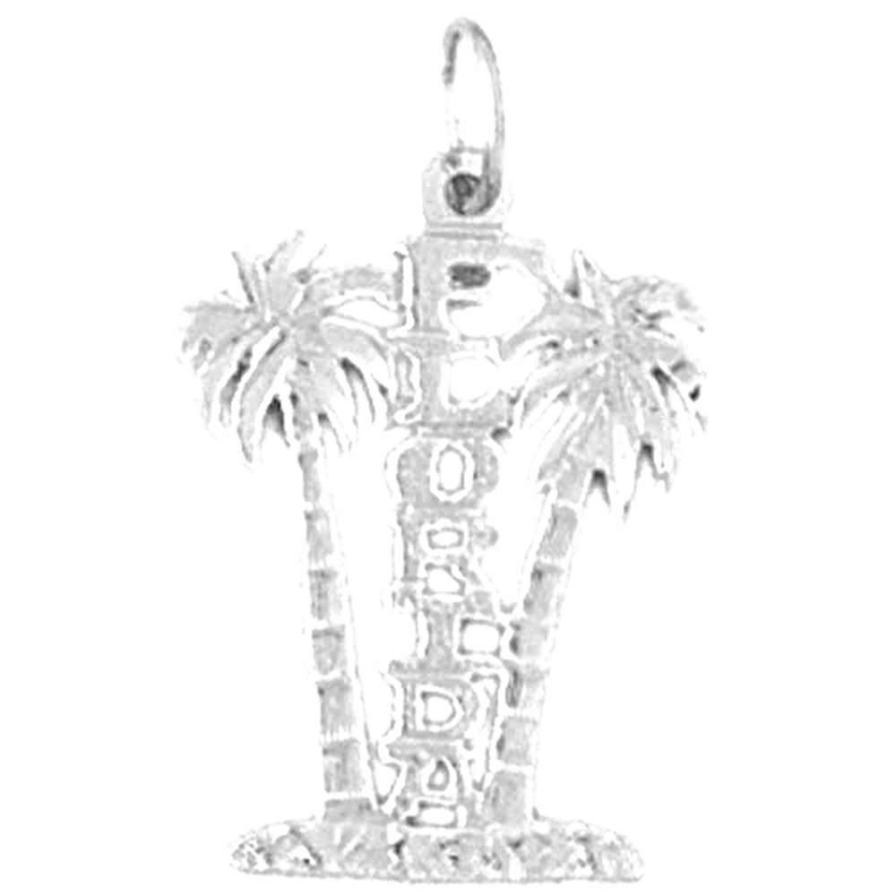 Jewels Obsession Florida Necklace Rhodium-plated 925 Silver Florida Pendant with 18 Necklace