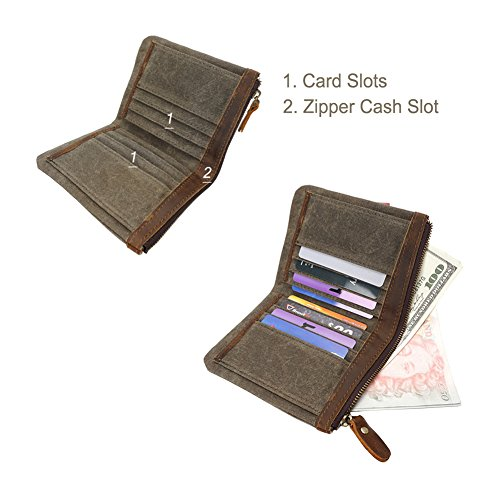 Bifold Zipper Short Coral Leather Green Waxed VRIKOO Canvas Army Card Vintage Holder Coin Purse Green Wallet R1Ypxp60n