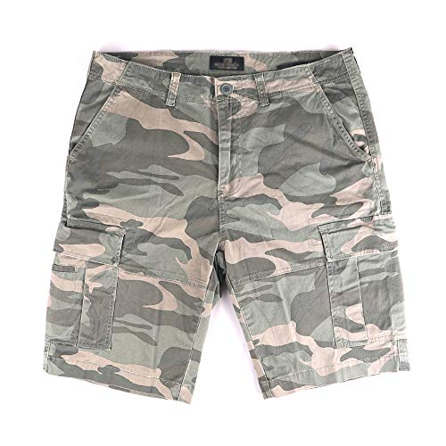 Muscle Alive Hommes Shorts Cargo Camping Randonnée Coupe Slim Camouflage Ancien 100% Coton 3