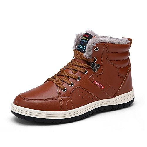 SAGUARO® Hombre Invierno Botines Piel de imitación de invierno con encaje de botas de nieve de cuero para Los Reyes Magos marrón