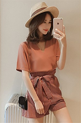 da578e4ae2a Amazon.com   Korean fashion summer new wide leg pants suit female V-neck  chiffon shirt striped shirt + shorts two-piece for women girl   Beauty
