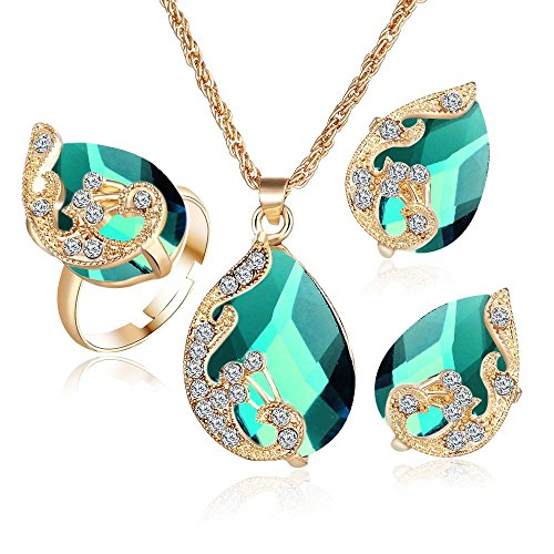 Yanvan Elegant Jewelry Set for Women, Teardrop Clear Crystal Rhinestone Drop Earrings and Necklace Bridal Jewelry
